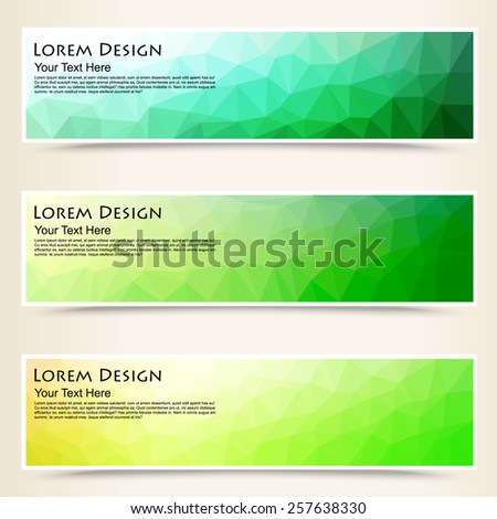 abstract colorful set of shiny polygonal banners, vector illustration - stock vector