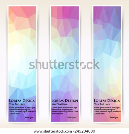 abstract colorful set of shiny polygonal vertical banners. Vector, EPS 10 - stock vector