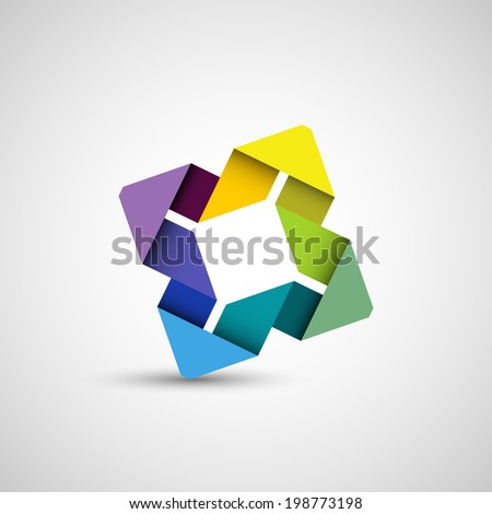 Abstract colorful shape, folded paper loop, eps10 vector - stock vector