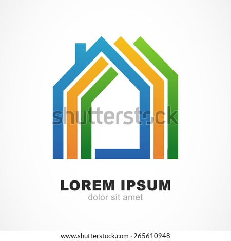 Abstract colorful silhouettes of houses. Design concept for real estate, building company. Vector logo icon template. - stock vector