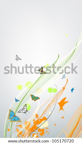 abstract colorful spring background with butterfly - stock vector