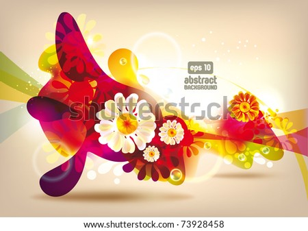 Abstract colorful spring flowers vector banner