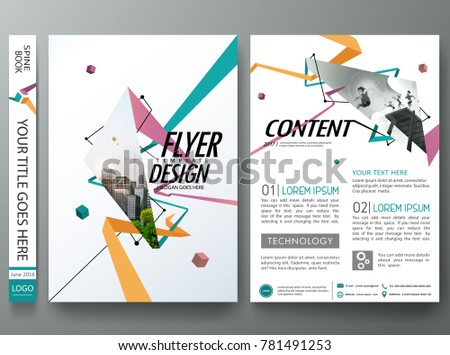 Abstract colorful square pattern on cover book presentation. Portfolio design vector. Minimal brochure report business flyers magazine poster template.