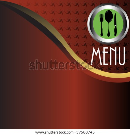 Abstract colorful stylized restaurant menu with green plate, fork, spoon and knife. Menu theme - stock vector