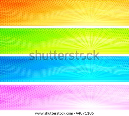 Abstract colorful sunrise background banners (orange, green, blue, purple)