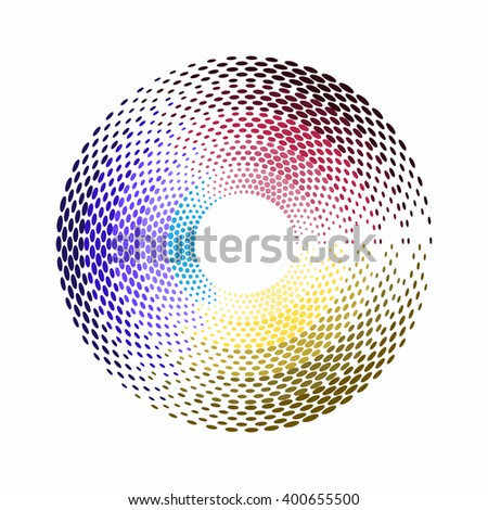 Abstract colorful swirl dots illustration vector design.