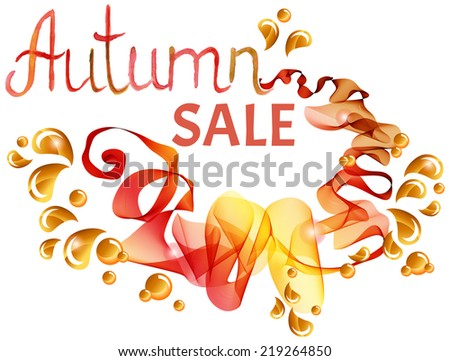 Abstract colorful template background, Brochure design with beautiful wave, natural eco design with leaf, Autumn colors, good with white background, VECTOR - stock vector