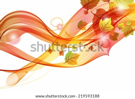 Abstract colorful template background, Brochure design with beautiful wave, natural eco design with leaf, Autumn colors, good with white background - stock vector