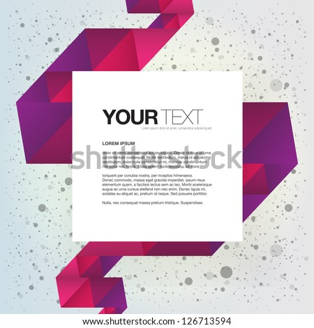 Abstract colorful text box design vector with colorful triangles ribbon background - stock vector