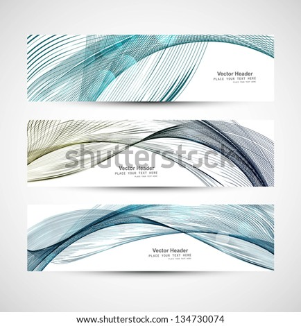 Abstract colorful three header different line wave whit vector - stock vector