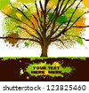 abstract colorful tree out of ink stains - stock vector