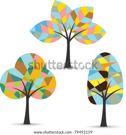 abstract colorful tree set