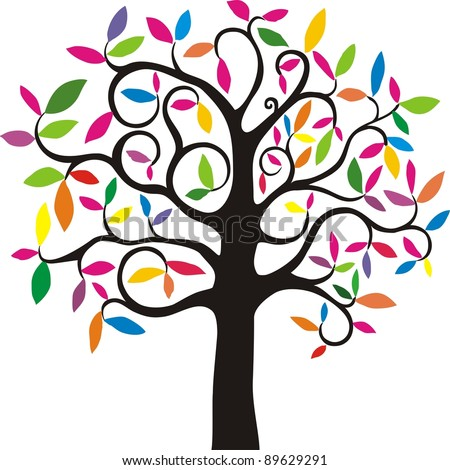 Abstract colorful tree. simple stylized tree with rainbow leaves. Vector Illustration - stock vector