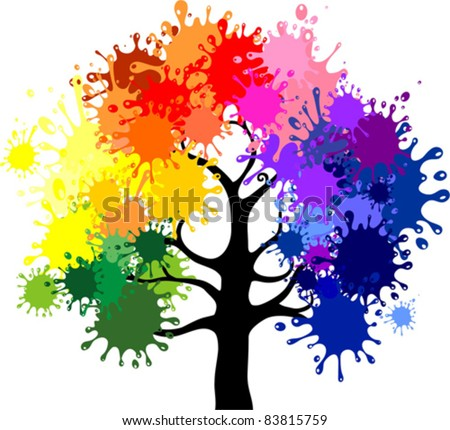 Abstract colorful tree. Vector. - stock vector