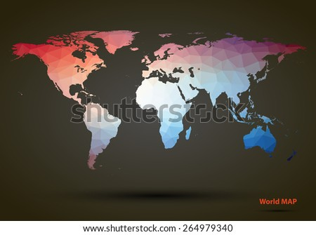 Abstract colorful triangle world map. Vector illustration - stock vector