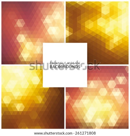 Abstract colorful triangular, mosaic backgrounds set 3 - stock vector
