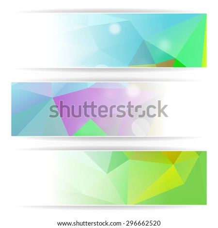 Abstract Colorful Triangular Polygonal vector header set