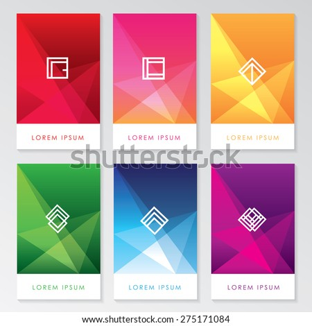 abstract colorful user interface template set collection labels in geometric triangular pattern with trendy white thin line logos - stock vector