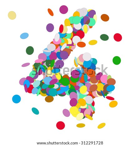 Abstract Colorful Vector Confetti Number Four - 4 - Birthday, Party, New Year, Jubilee - Number, Figure, Digit - stock vector