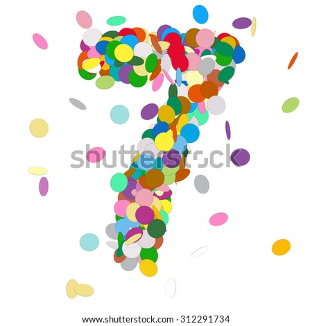 Abstract Colorful Vector Confetti Number Seven - 7 - Birthday, Party, New Year, Jubilee - Number, Figure, Digit - stock vector