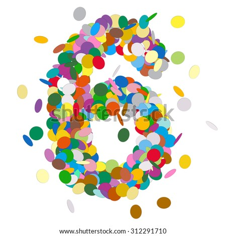 Abstract Colorful Vector Confetti Number Six - 6 - Birthday, Party, New Year, Jubilee - Number, Figure, Digit - stock vector