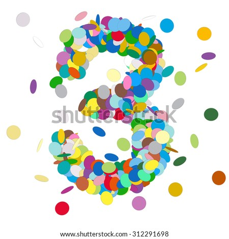 Abstract Colorful Vector Confetti Number Three - 3 - Birthday, Party, New Year, Jubilee - Number, Figure, Digit - stock vector