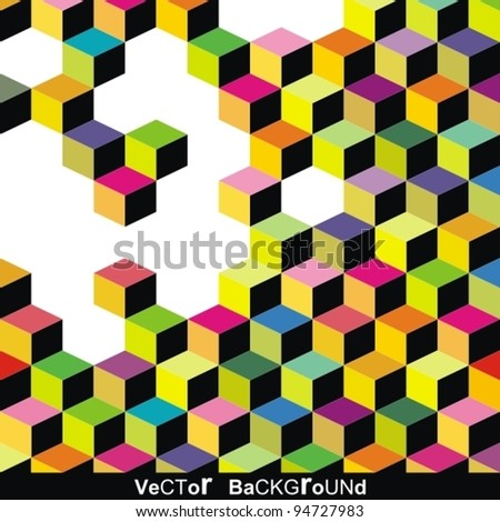 Abstract colorful vector cube. - stock vector