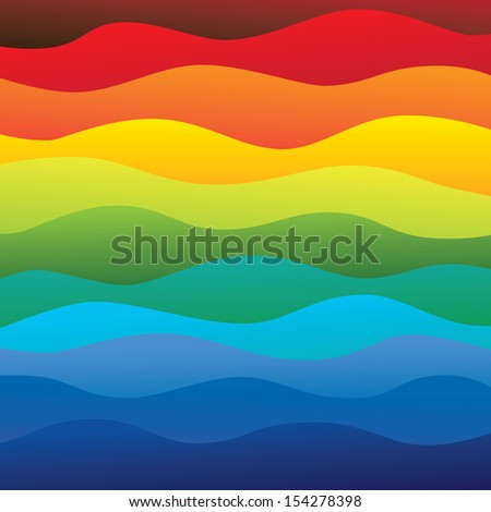 abstract colorful & vibrant water waves of ocean background (backdrop) - vector graphic. This illustration contains layers smooth layers of water waves in rainbow spectrum colors - stock vector