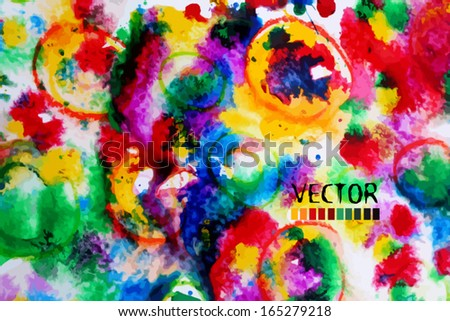 abstract colorful watercolor background of circles. Vector