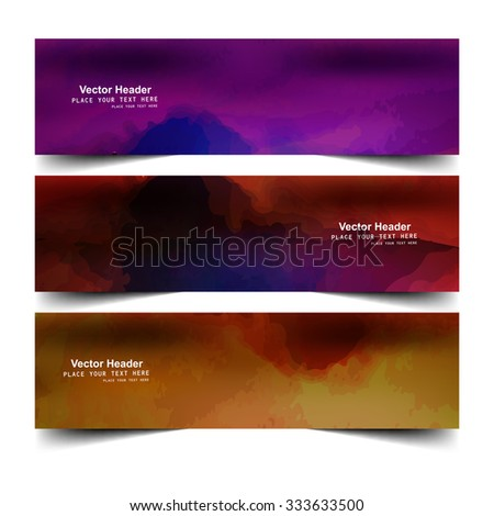 Abstract colorful watercolor header set vector illustration - stock vector