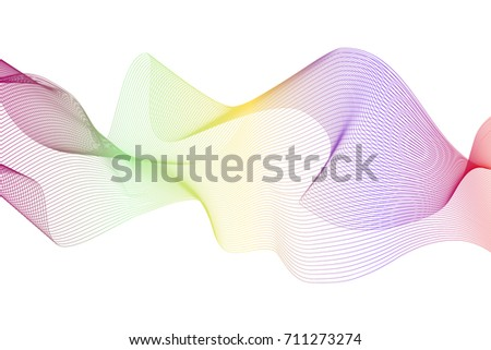 Abstract colorful waves. White vector background
