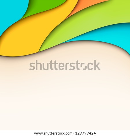 Abstract colorful wavy background with place for text - stock vector