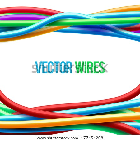 Abstract colorful wavy wires. Vector illustration. - stock vector
