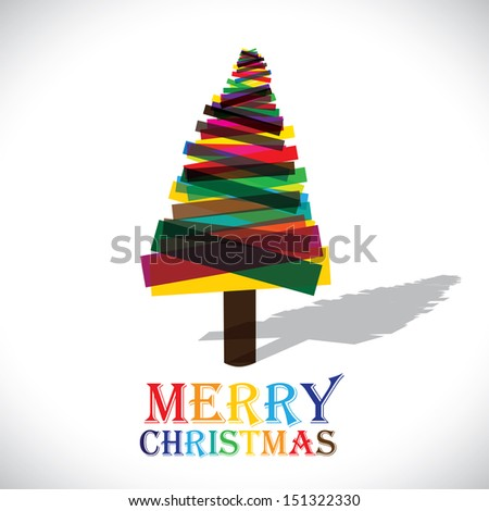 Abstract colorful xmas tree on white background- vector graphic. This illustration shows christmas tree made of transparent paper in various colors with colorful text merry christmas - stock vector