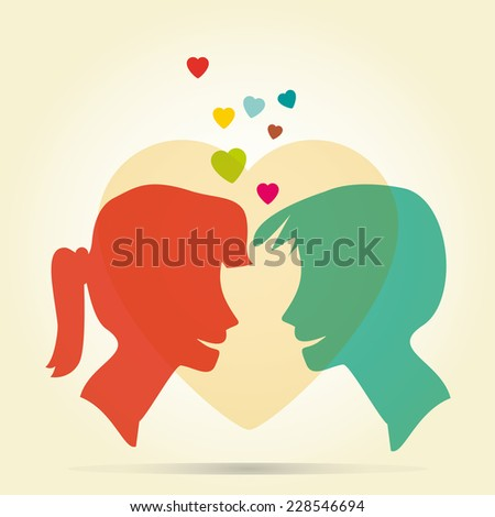 abstract colorful young love vintage background - stock vector