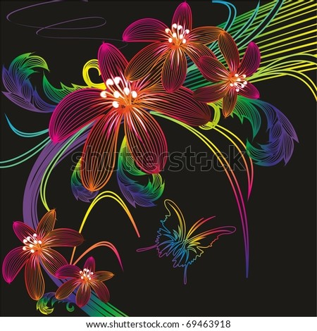 Abstract colors of the contours. Vector. - stock vector