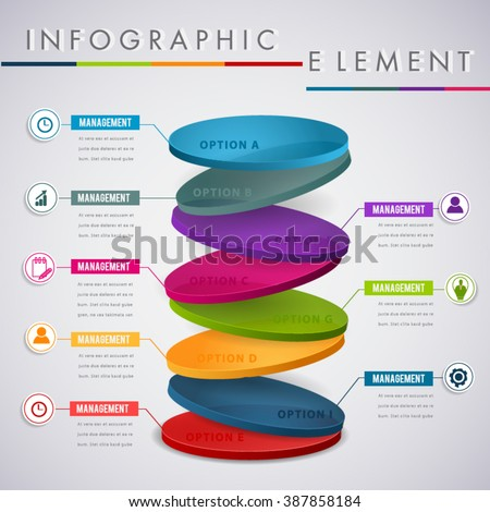 Abstract colour 3D infographic element. - stock vector