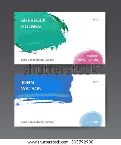 Abstract colourful business card templates with watercolor brushes and transparencies - stock vector