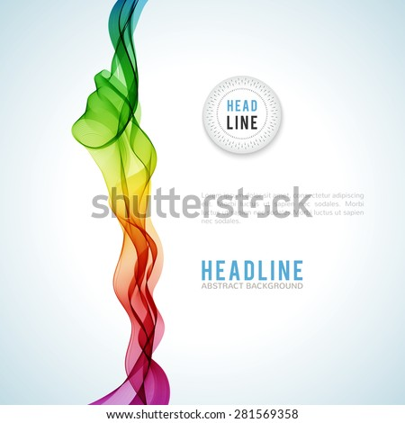 Abstract colourful wave isolated on white background. Vector illustration for modern business design. Futuristic wallpaper. Cool element for presentation, card, flyer and brochure. - stock vector