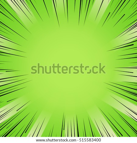 Abstract comic book flash bright green explosion radial lines background. Vector illustration for superhero design. Light strip burst. Flash ray blast glow Manga cartoon hero fight cute print