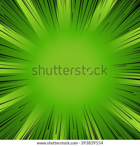 Abstract comic book flash explosion radial lines background. Vector illustration for nature design. Bright black green light strip burst. Flash ray blast glow Manga cartoon hero eco spring print