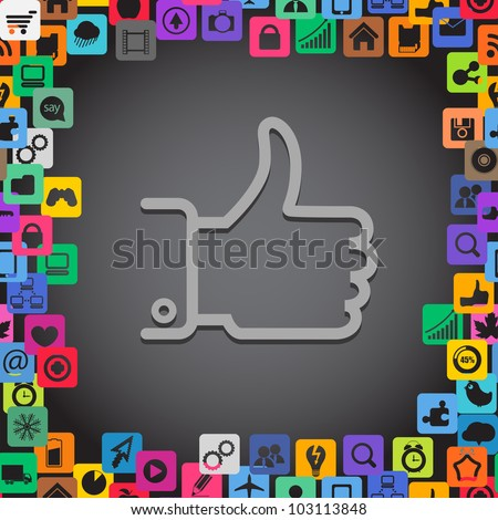 Abstract communication symbol with media icons - stock vector
