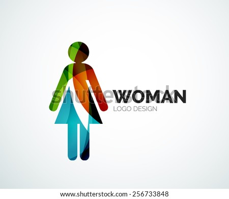 Abstract company logo design element - woman icon - stock vector