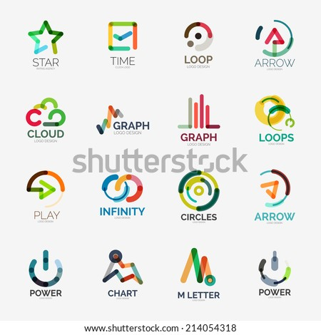 Abstract company logo vector collection - 16 line style business corporate logotypes - stock vector