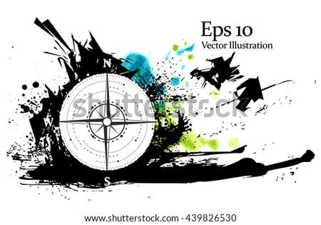 Abstract compass symbol. Vector logo design template. Modern concept background - stock vector