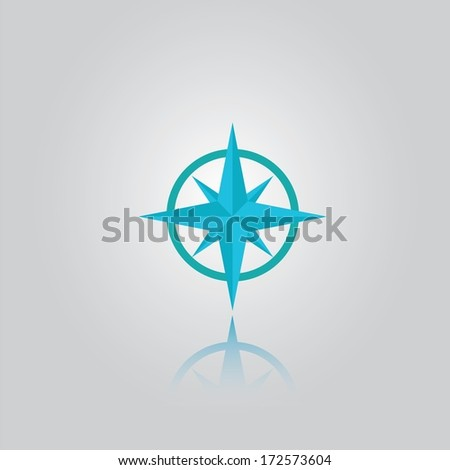 Abstract compass / windrose icon / button for websites (UI) or applications (app) for smartphones or tablets. Pictogram - stock vector
