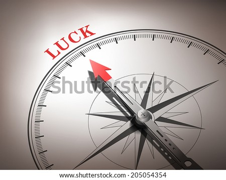 abstract compass with needle pointing the word luck in red and white tones - stock vector