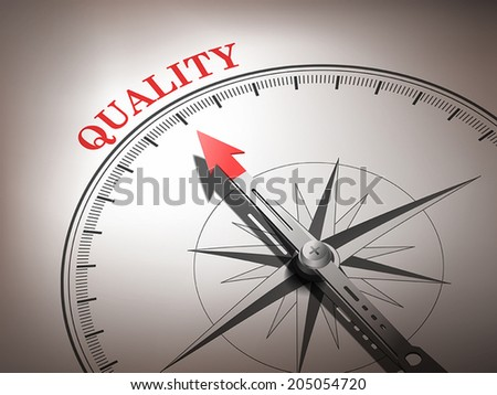 abstract compass with needle pointing the word quality in red and white tones - stock vector