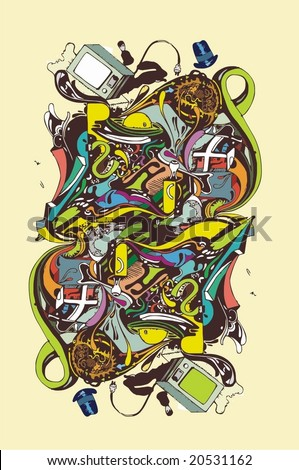 abstract complex illustration - stock vector