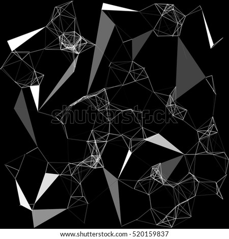 Abstract complex wire-frame structure forming a geometric pattern on a black background